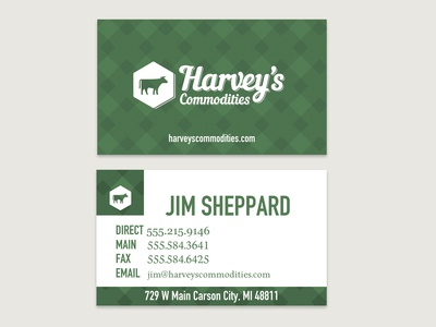 Business card for livestock feed marketer