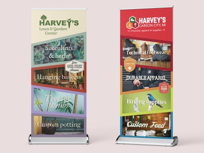 Banner displays for local farm and garden store print photography display banner