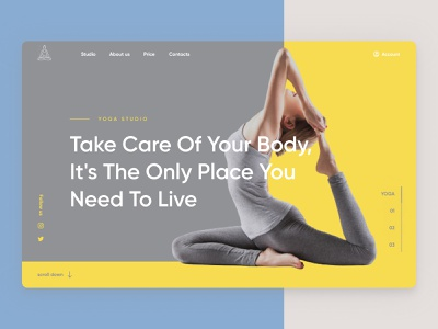 Yoga Studio in colors PANTONE 2021 webdesign minimal adobe photoshop design web pantone2021 pantone tilda figma concept yoga
