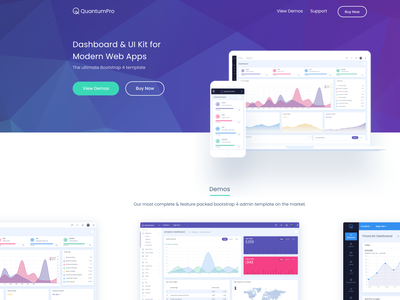 QuantumPro - Landing Page widget theme user interface design branding dashboard ux ui marketing app website splashpage splash