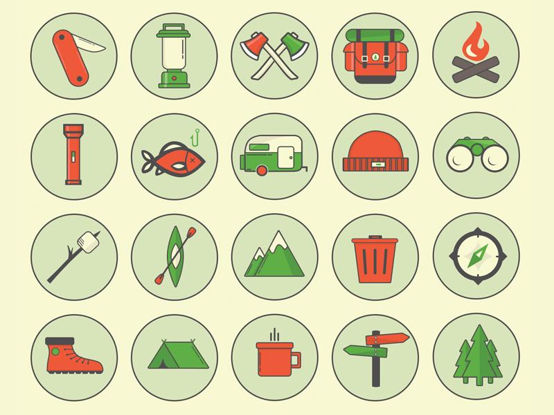 PSD freebie - Camping Outdoor Icons  free freebie icons flat camping outdoor vector design backpack badge