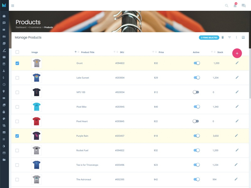 Bulk Edits - Ecommerce Products manage toggle icons ecommerce material design admin edit tables ui interaction forms