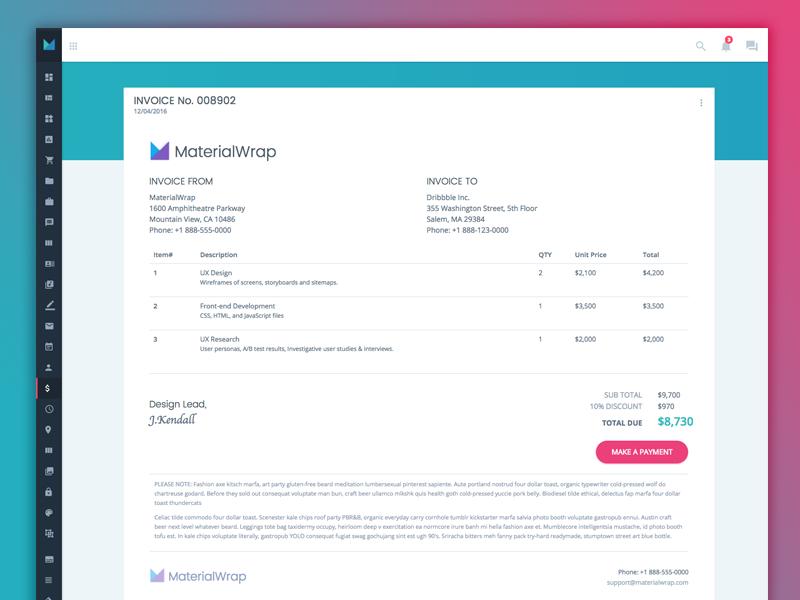 Dribbble  Invoice Web App