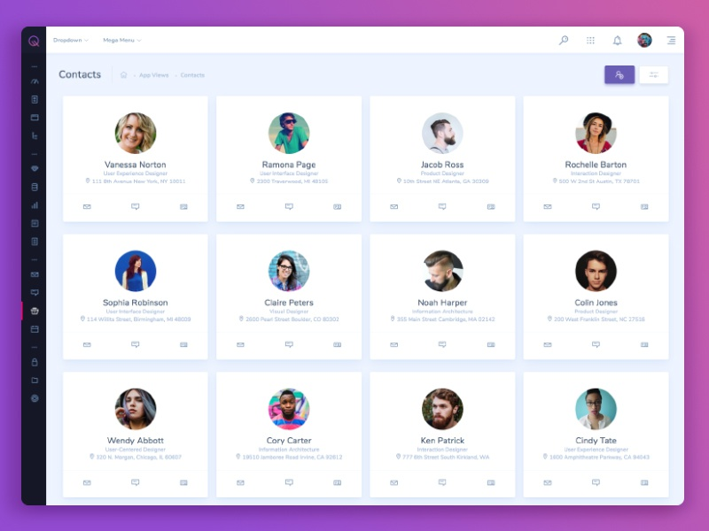 CRM Contacts web ux user interface ui dashboard app contacts crm