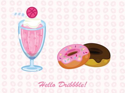 Hi Everyone! sweet pink color joy milkshake doughnut candy thanks shot first shot