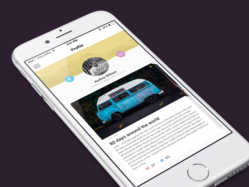 User profile ui ios graphicdesign application design app