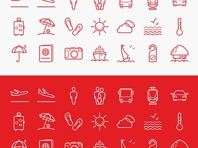 Tourism icon pack (free) passport train sea cloud plane bus yacht ship sun tourism free icons