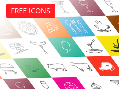 Food icon pack (free) sausage coffee glass fork spoon pizza freebie vector icon free food