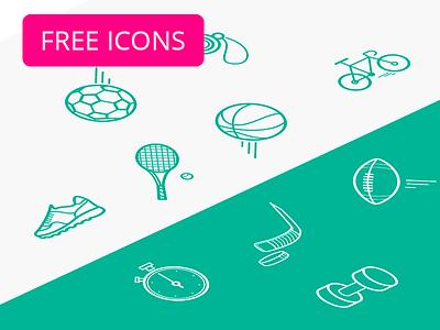 Sport icon pack (free) vector bike gym hockey tennis rugby soccer freebie free sport