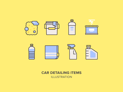 Car Detailing Items Illustration