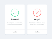 Success and fail icon with modals
