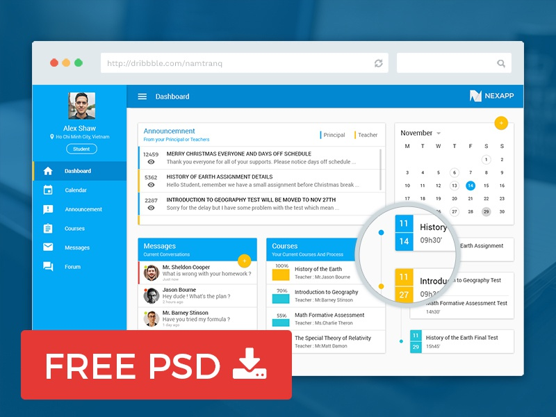 Free Education Dashboard photoshop free navigation message event calendar design material psd dashboard education freebie