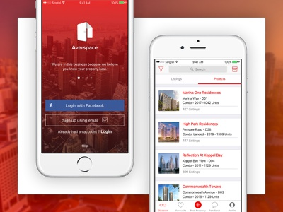 Averspace DIY Property App design ui signup login page screen landing listing discover app property ios