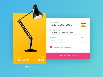 Credit Card Checkout - Daily UI 002 visa lamp cart detail product 002 dailyui checkout card credit