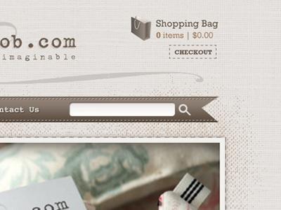 Website Design beige brown texture stitching vintage web design mockup