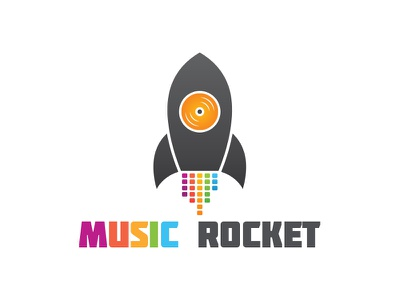 Music Rocket Logo disc dj vibes media songs equalizer rocket logo music logo