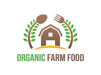 Organic Farm Logo farm house fork spoon farm logo food green fresh organic farm
