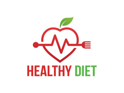 Healthy Diet Logo food logo heart beat pulse fork eco food green food heart apple food diet health