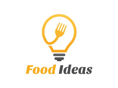 Food Ideas Logo food lab food app restaurant hotel delicious tasty fork bulb idea logo food logo