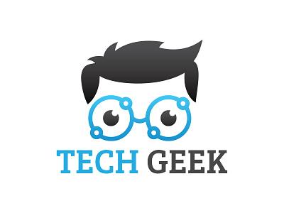 Tech Geek Logo hardware genius creative lens glasses nerd tech logo tech geek geek logo