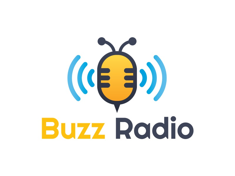 Bee Radio Logo songs music studio sound creative buzz logo bee logo audio radio mic bee