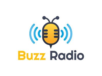 Bee Radio Logo songs music studio sound creative buzz logo bee logo audio radio mic bee