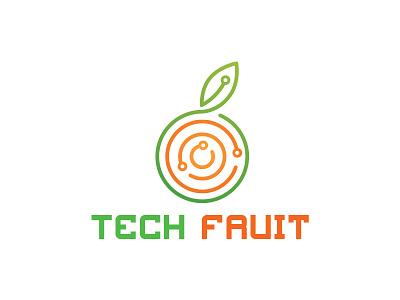 Tech Fruit Logo digital technology eco tech fresh orange fruit tech logo