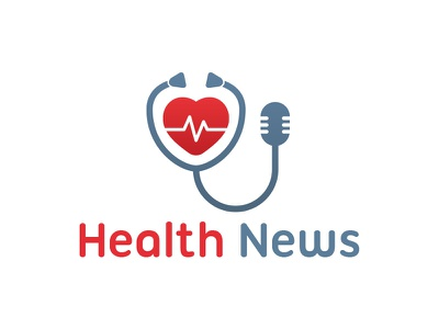 Health News Logo feed hospital doctor health care heartbeat pulse heart mic logo news stethoscope health