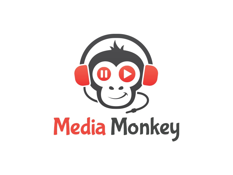 Media Monkey Logo media logo monkey logo headphone gorilla multimedia studio media monkey