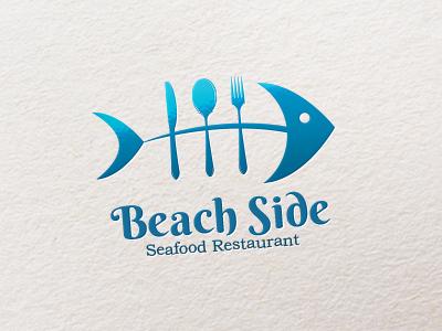Beach Side (Logo) beach side restaurant sea food fish blue spoon fork knife logo