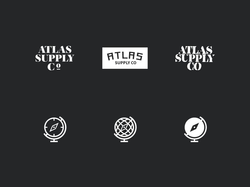 Atlas Logo Variations design minimal clothing logo mark logotype branding atlas atlas supply co