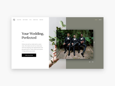 Generation Tux Homepage Concept homepage animation formalwear after effects principle sketch