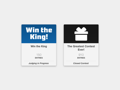 Contest Cards dashboard card status entries contest ui