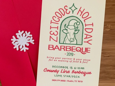 Zeitcode Holiday Invite texas austin cow green red lettering barbecue invite holiday
