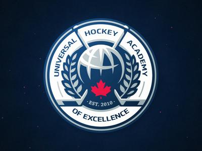 Universal Hockey 🏒 badge illustration dlanid logotype reveal logo hockey branding identity sports animation