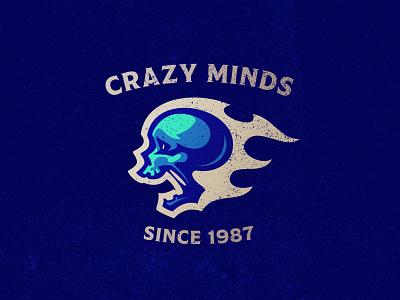 Crazy Minds mascot dlanid gaming sports esports illustration reaper badge symbol icon branding logo skull