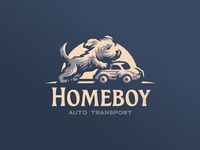 Homeboy Auto Transport transport dlanid icon mark badge logotype mascot identity branding logo delivery car dog puppy
