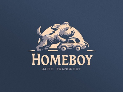 Homeboy Auto Transport transport dlanid icon mark badge logotype mascot identity branding logo delivery car dog puppy
