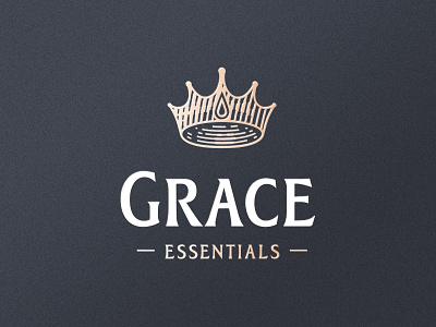 Grace Essentials label creative design drink bottle design king mark logotype identity water branding embroidery vintage badge logo crown