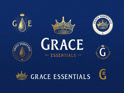 Grace Essentials logo pack design logotype label mark badge engraved engrave icon crown waterdrop water premium identity branding logo logo pack