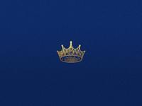 Crown 👑 illustration branding identity blue golden emboss label badge logotype monarch engrave design logo icon crown
