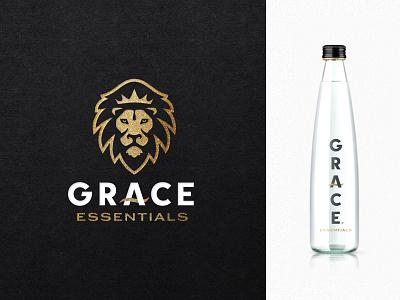 Grace Essentials icon monarch lion mascot identity logo branding badge design bottle water