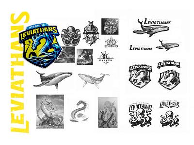Atlantis Leviathans icon badge illustration dragon snake monster sea leviathan dlanid logotype mascot sports identity branding logo