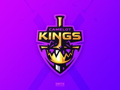 Camelot Kings illustration esport sport smite graphic design esports design crown royal sword king icon simple badge logotype mascot sports identity branding logo