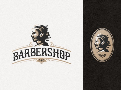Barbershop logo design style retro vintage patch icon simple badge moustache beard haircut hair barbershop barber illustration design logotype mascot identity branding logo