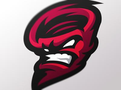 Redstorm hurricane sports mascot logo storm tornado gaming esports design branding