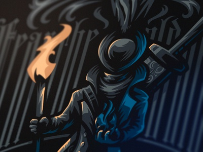 Fear the old blood bloodborne art fear the old blood dlanid hunter illustration playstation4 fromsoftware