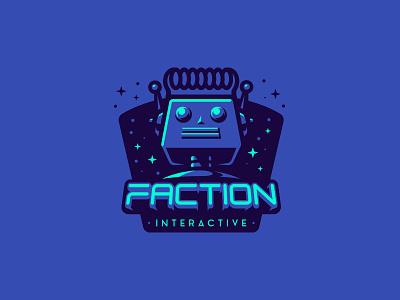 Faction logotype future futuristic space moon mascot identity star stars cosmic logo robot