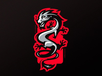 Dragon asian sports sport dragon middle ages mascot logotype logo chinese identity branding