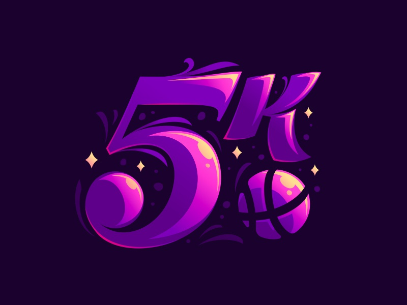5000 followers dribbble 5 logo modern illustration followers hiwow dlanid 5000